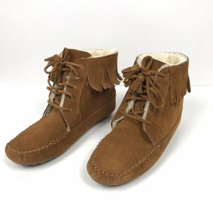 Minnetonka Brown Suede Fringe Lace Up Ankle Boots